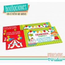 Circo - Invitación Circo Ticket Para Imprimir