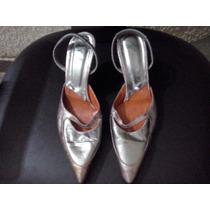 Sandalias Stilettos De Fiesta Plateadas N°36 Envío Gratis