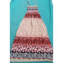 Vestido Solero Strapless Estampado Mujer Nuevo Talle Unico