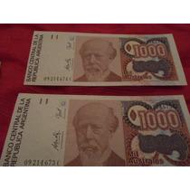 Billetes Argentinos Antiguos - 1000 Australes X 2unidades