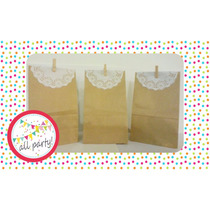 Bolsa De Papel Kraft Decorada Blonda Y Broche Madera