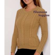 Sweaters Mujer De Lana Con Bolsillos Camel Y Negro Unicos!!!