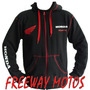 Campera Honda Yamaha C/ Capucha Negro Mod 2014 Freeway Motos