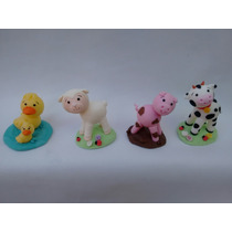 Adorno De Torta Animalitos De La Granja En Porcelana Fría