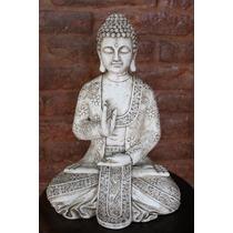 Buda Grande 33cm. Blanco Avejentado Para Interior Y Exterior