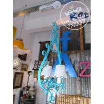 Antigua Lámpara Araña Hierro Estilo Provenzal Vintage