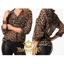 Camisa Mujer Gasa Animal Print Leopard Importada