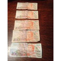 Lote De 5 Billetes De 100 Cruzeiros Serie A
