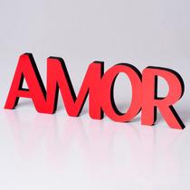 Adorno Amor Palabra Corporea Madera Souvenir P/ Mesa De Luz