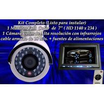 Kit Seguridad 1 Monitor Hd Color + 1 Cámara Infrarroja Ext.