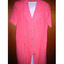 Vestido De Lino Cruzado Color Coral