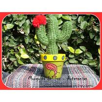 Cactus Tejidos Al Crochet Con Macetas Pintadas