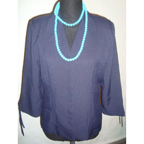 Saco Blazer Azul Marino De Creep Talle M Onda Vintage