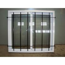 Ventana Aluminio Blanco Con Vidrio Y Reja 100x90