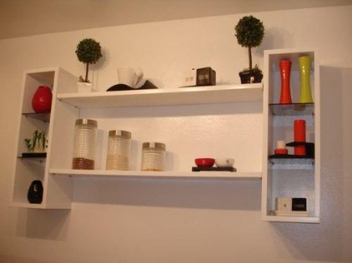 Repisa moderna en madera con cubos estantes y vidrios - Como hacer estantes de cocina ...