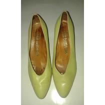 Zapatos De Impecable Cabritilla Batistella 39 Verde Clarito