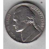Estados Unidos Moneda De 5 Cents Año 1988 P !!