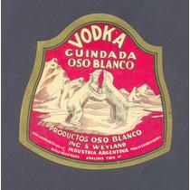 Antigua Etiqueta Vodka Guindada Oso Blanco -