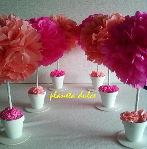 Centro de mesa pompon flor en papel de seda planeta dulce - Centros de mesa de papel ...