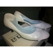 Zapatos Color Marfil Taco Medio Nº38