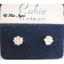Par Aros Plata 900 Piedra Cubick Engarzado Nº 5 Garantia Etj