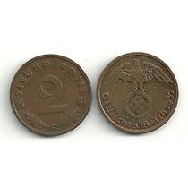 Moneda Alemania Reich 2 Pfennig Con Esvastica Año 1937/39