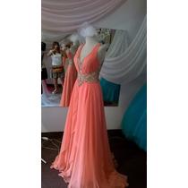 Vestido De Fiesta Alta Costura, Color Coral Elegantísimo !!