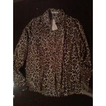 Camisa Seda Leopard Manga Larga