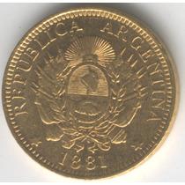 Escasa Moneda De Oro Argentino 5 Pesos 1881 Argentina