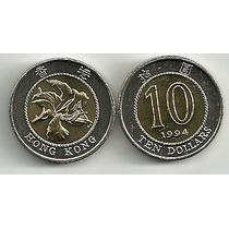 Moneda Hong Kong Año 1994 Bimetalica 10 Dolares Flor