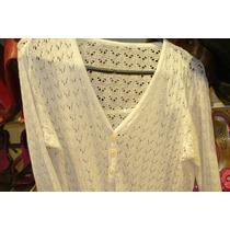 Saco Saquito Campera Sweater Tejido Blanco Abrigo Tejido D H