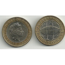 Moneda Inglaterra Año 1999 Bimetalica 2 Libras Rugby