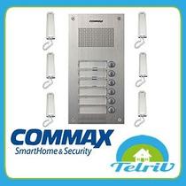 Kit Portero Commax 6 Pulsadores Con 6 Teléfonos Y Fuente