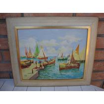 Cuadro Oleo Marina - 39,5 X 33,5cm - Pintado Sobre Tela