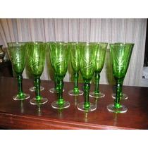 726-juego De 10 Copas Color Verde Vino Blanco Champagne 17,5