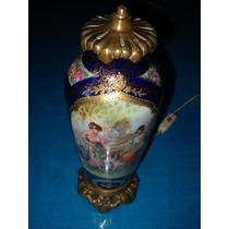 Hermoso Potiche, Potige, Potich Antiguo De Porcelana Bronce