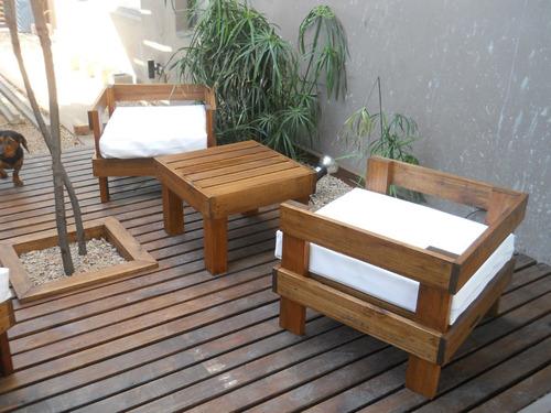 Sillones ideal balcon exterior madera muebles jardin for Sillones para jardin exterior