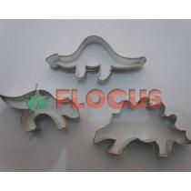 Cortante Molde Set Dinosaurios X3 Flogus Porcelana Galletita