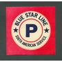 Blue Star Line - Antigua Etiqueta Para Valija -