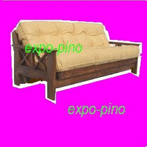 Futon 3 Cuerpos Sin Lustre Colchon Ecocuero Expo-pino