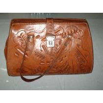 Bolso-maleta De Cuero Labrado Con Cerradura