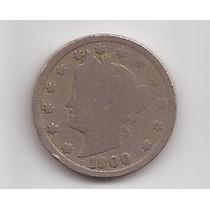 Estados Unidos 5 Cents Año 1900 Antigua Moneda De Niquel