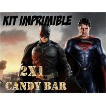 Kit Imprimible Batman Superman Premium Golosinas Editable