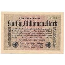 Billete Alemania 50.000.000 Marcos Año 1923 Sin Circular