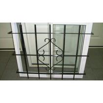 Ventana Aluminio Vidrio Entero 100x90 C/vidrio Y Reja Del 12