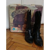 Botas Tejanas, Jr Boots N*36 Cuero Negro / Moda 80