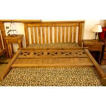 Juego De Dormitorio Cama 2 Plazas + 2 Mesas De Luz Rústico