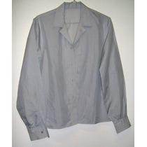 Camisa Blusa Celeste Puños Y Cuello V Pespunteados S/botones