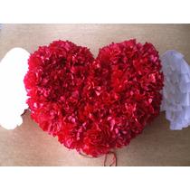 Piñata Corazón Alado Guirnaldas Flores De Papel De Seda