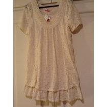 Blusa O Vestido Divina Color Manteca Toda Calada Elegante
